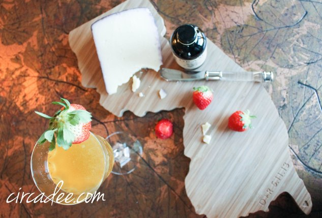 The Valencia - cocktail recipe and NJ state cutting board