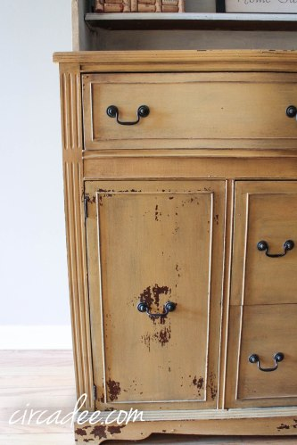 Mustard Seed Yellow Milk Paint Hutch-3425