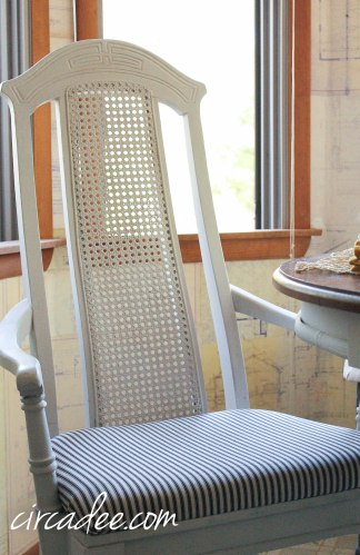 grainsack milk paint & ticking fabric dining chairs