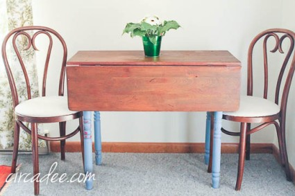 drop leaf table with hemp oil finish on raw wood and paint