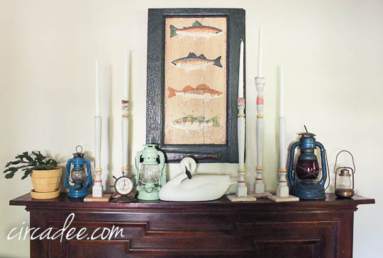 vintage summer mantel