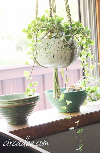 macrame and glazed planter