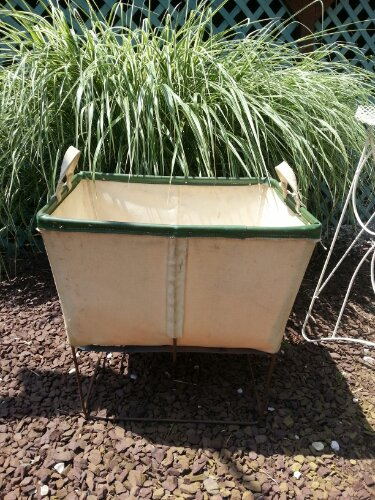 vintage industrial laundry cart