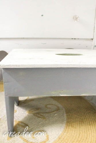 chenille rug & milk paint stool