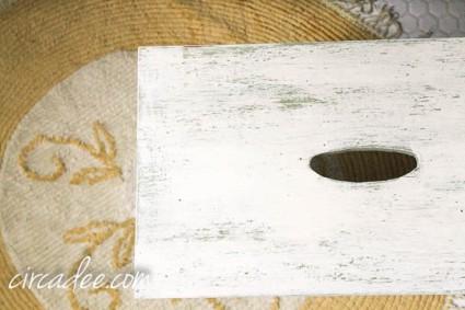 vintage chenille rug & milk paint stool