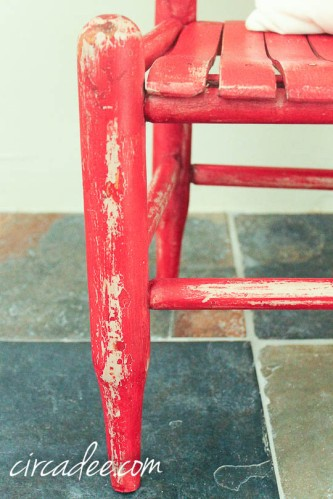 mms milk paint tricycle chair- wax puck distressing