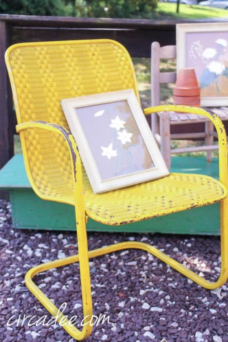 retro yellow porch chair