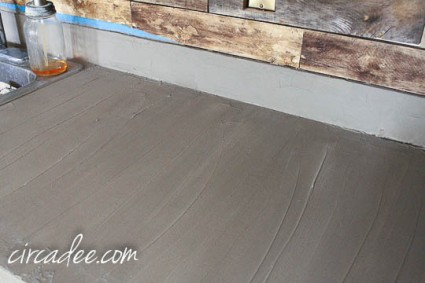 applying Ardex Feather Finish to laminate kitchen counters