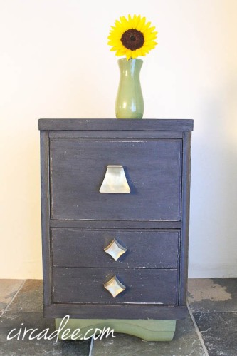 MMS typewriter, boxwood & brass mid-century nightstand