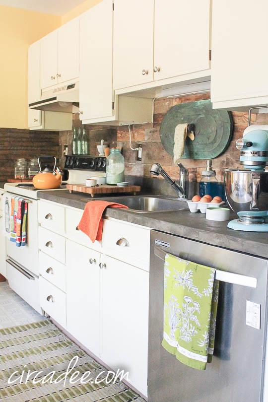 Rustic Industrial Kitchen   Wood Backsplash U0026 Ardex Concrete Counters