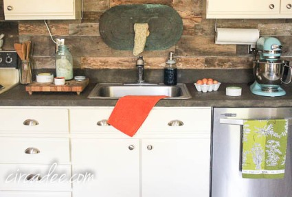 Rustic Industrial Kitchen - wood backsplash & Ardex concrete counters