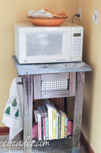 zinc top potting bench as microwave cart