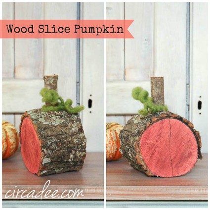 wood slice pumpkin-