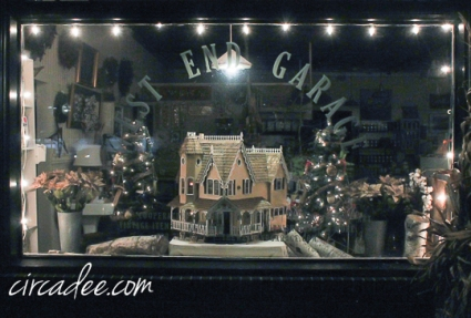 Christmas winter window display, victorian dollhouse