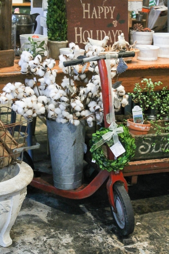 Circa Dee at West End Garage- Garden Holiday, cotton, boxwood & vintage radio flyer scooter