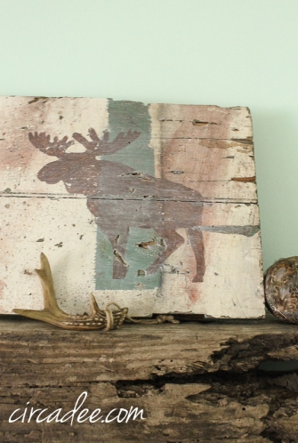 handpainted holiday sign on reclalmed wood-Moose Lodge