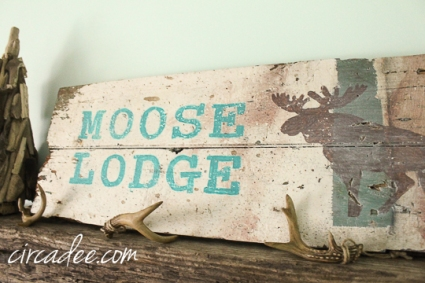 handpainted holiday sign on reclaimed wood-Moose Lodge