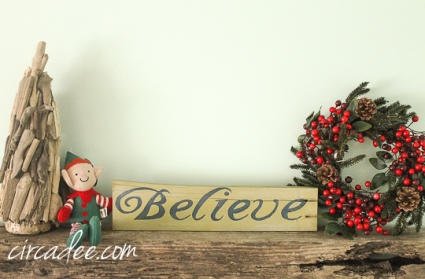 "handpainted holiday ""Believe"" sign on reclaimed wood + driftwood tree"