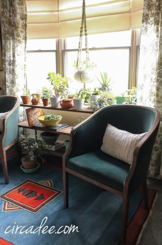 vintage mohair chair, kilim rug,  reclaimed wood plant stand bookcase