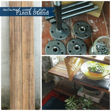 simple DIY: reclaimed wood + pipe plant stand/ bookcase