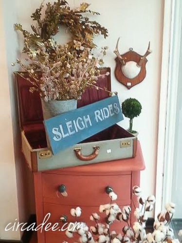 glitter and rustic holiday vignette
