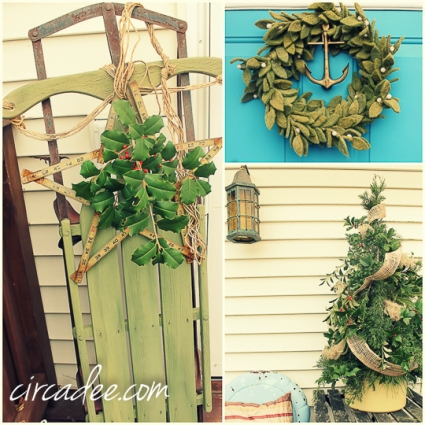 holiday door decor - vintage green sled, mistletoe wreath, mixed greens tree