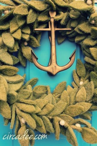 felt mistletoe wreath, brass anchor door knocker