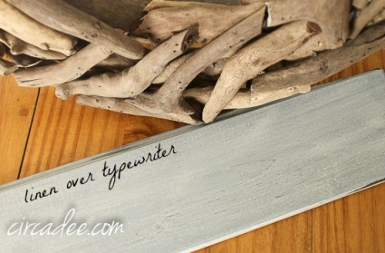 driftwood look milk paint linen over typewriter