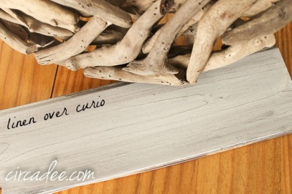 linen over curio milk paint for a driftwood look
