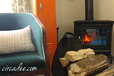 woodstove + orange locker
