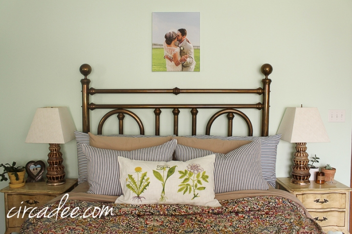 vintage brass bed, ticking shams, French provincial furniture #brass