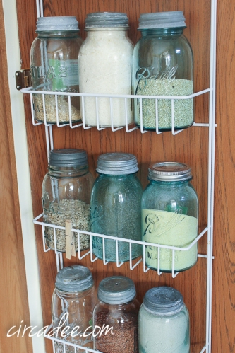 kitchen organization with ball jar canisters
