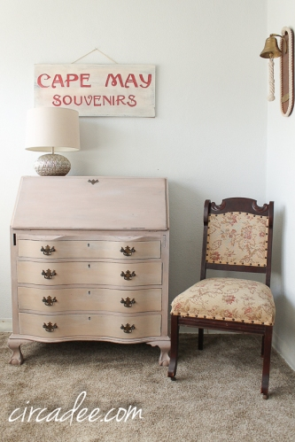 vintage serpentine secretary desk painted arabesque MMSMP-6429