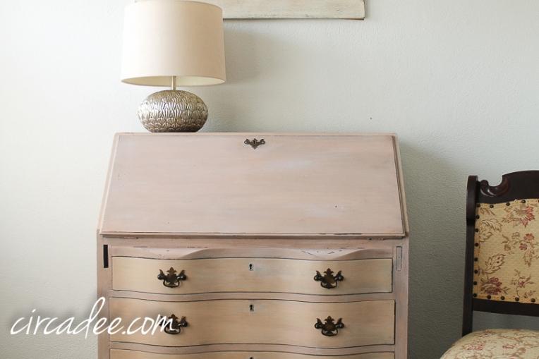 vintage serpentine secretary desk painted arabesque MMSMP-6434