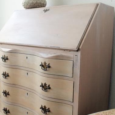 vintage serpentine secretary desk painted arabesque MMSMP-6439