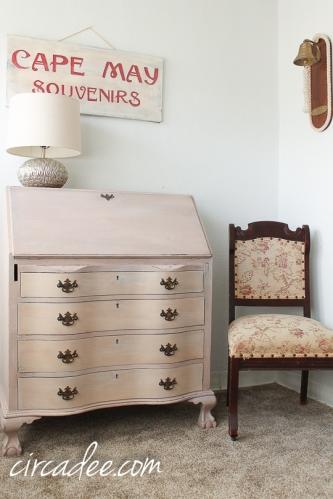vintage serpentine secretary desk painted arabesque MMSMP-6442