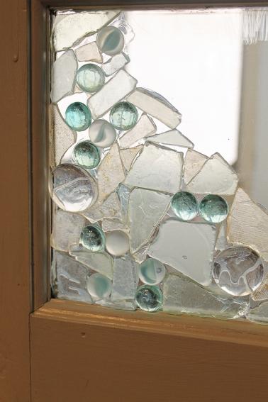 sea glass adorned door