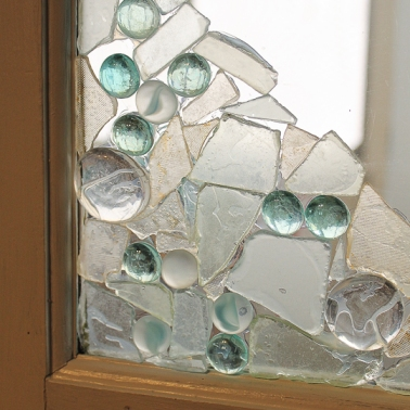 sea glass adorned door