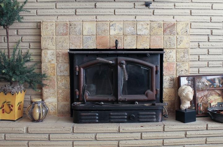 wood stove & surround