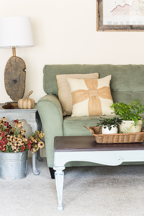 burlap autumn living room accents