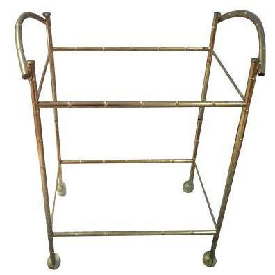 Hollywood Regency Brass Faux Bamboo Bar Cart