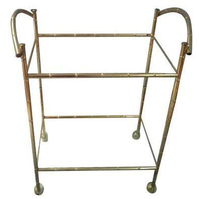 Hollywood Regency Brass Faux Bamboo Bar Cart