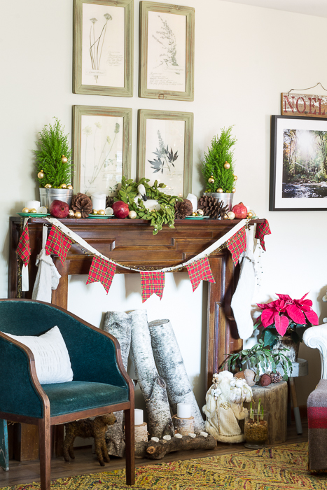 vintage red and green botanical Christmas mantel