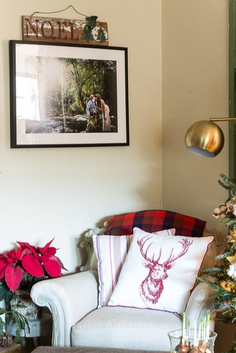 corner club chair buffalo check reindeer Christmas