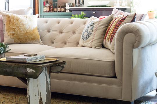 white velvet Chesterfield sofa