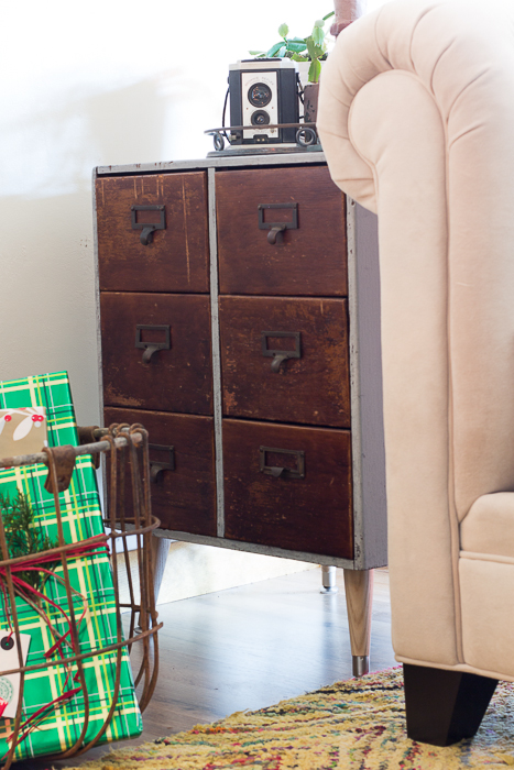 vintage card catalog end table