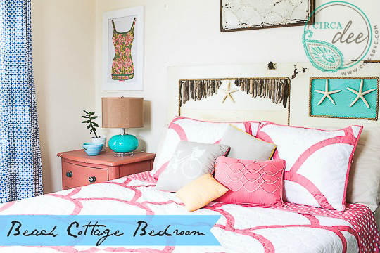 vintage salvage style beach cottage bedroom -383