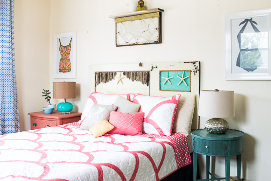 vintage salvage style beach cottage bedroom