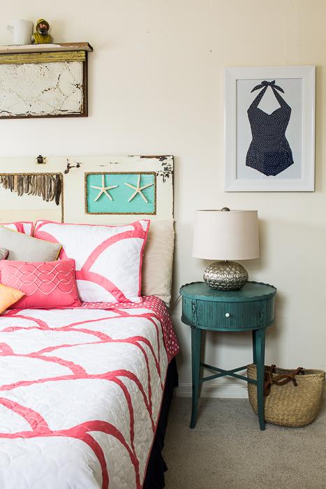 vintage salvage style beach cottage bedroom -390