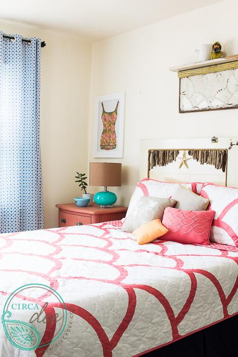 vintage salvage style beach cottage bedroom